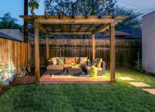 wooden pergola and outdoor decoration