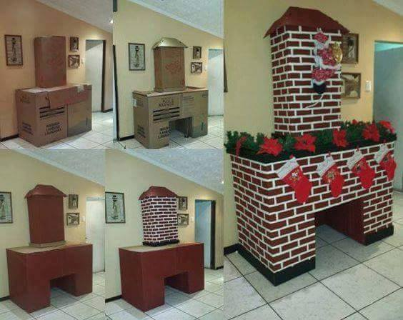 cardboard boxes fireplace