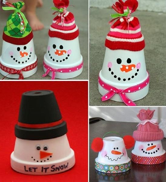 terra cotta pots snowman