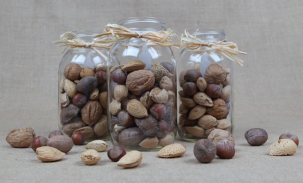 walnuts in mason jars