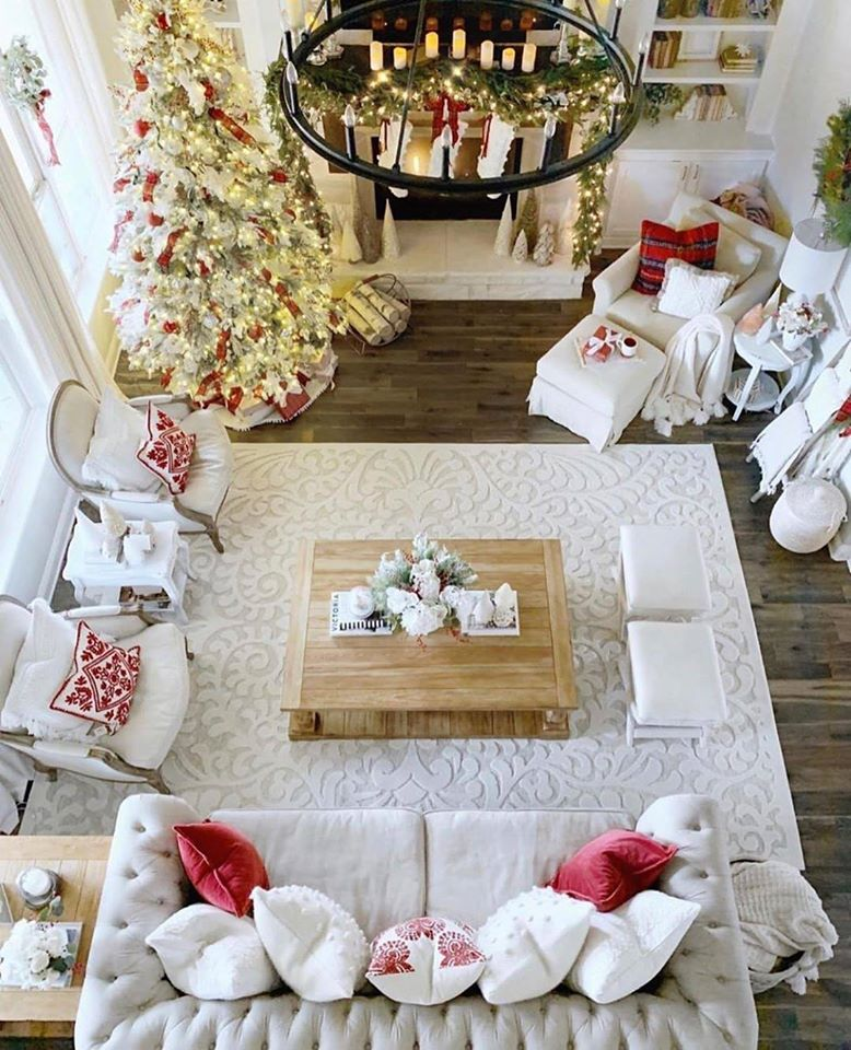 red and white interior